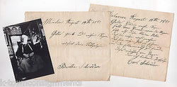 CARL WILHELM SCHRODER OF DELAWARE ANTIQUE AUTOGRAPH SIGNED NOTES & PHOTO 1881 - K-townConsignments