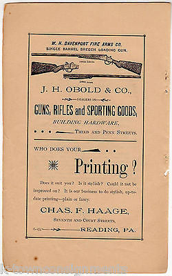 Obold & Co Davenport Rifles Guns Reading PA Antique Graphic Advertising Print - K-townConsignments