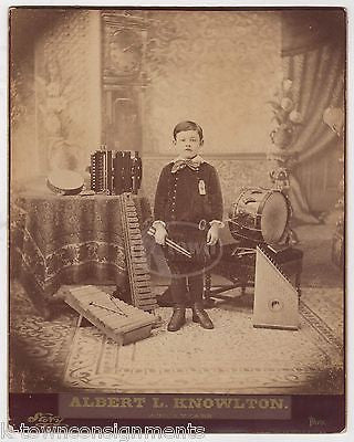 ALBERT KNOWLTON CHILD MUSIC PRODIGY WITH DRUMS ACCORDION ANTIQUE STUDIO PHOTO - K-townConsignments