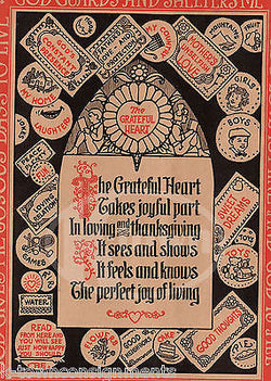 A GRATEFUL HEART CUTE POEM ANTIQUE NURSERY RHYME GRAPHIC ILLUSTRATION PRINT - K-townConsignments