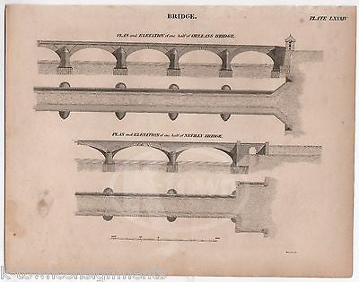ORLEANS NEUILLY BRIDGE FRANCE ANTIQUE GRAPHIC ENGRAVING ARCHITECTURE PRINT 1832 - K-townConsignments