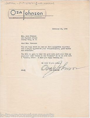 OSA JOHNSON WORLD EXPLORER AUTHOR AUTOGRAPH SIGNED WWII WALDORF LETTERHEAD 1945 - K-townConsignments