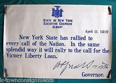 AL SMITH NEW YORK GOVERNOR ORIGINAL ANTIQUE WWI HOME FRONT LIBERTY LOAN POSTER - K-townConsignments