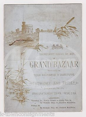 PRINCESS HELENA BROMSGROVE SCHOOL OF ART GRAND BAZAAR TURKISH PLAYBILL 1889 - K-townConsignments