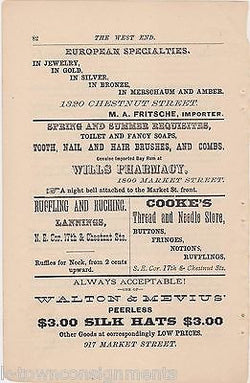 WILLS PHARMACY MARKET ST PHILADELPHIA WALTON SILK HATS ANTIQUE ADVERTISING PRINT - K-townConsignments