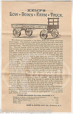 KEMP'S FARM TRUCK SYRACUSE NY ANTIQUE AGRICULTURE ADVERTISING PRICE LIST LOT - K-townConsignments