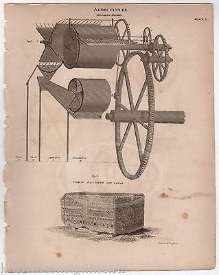 OLD FARMING EQUIPMENT THRASHING MACHINE INVENTION ANTIQUE ENGRAVING PRINT 1832 - K-townConsignments