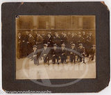 TOUGH BOYS WITH TRAINING RIFLES MILITARY DRILL ANTIQUE GROUP PHOTO ON BOARD - K-townConsignments