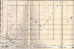 WILLIS ISLET BARRIER REEF CORAL SEA WWII RESTRICTED AERONAUTICAL FLIGHT CHART - K-townConsignments