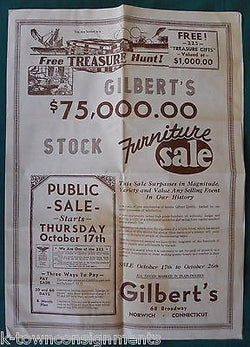 GILBERT'S FURNITURE STORE NORWICH CONNECTICUT ANTIQUE ADVERTISING POSTER FLYER - K-townConsignments