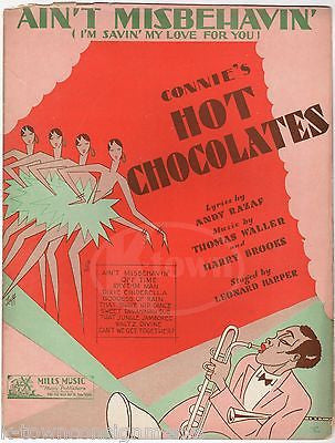 AIN'T MISBEHAVIN' CONNIE'S HOT CHOCOLATES JAZZ MUSIC LYRICS SHEET MUSIC 1929 - K-townConsignments