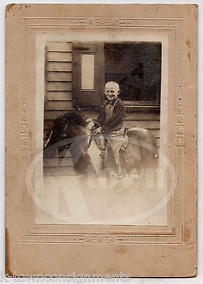 BALD LITTLE BOY IN OVERALLS RIDING DWARF PONY HORSE ANTIQUE PHOTO ON BOARD - K-townConsignments