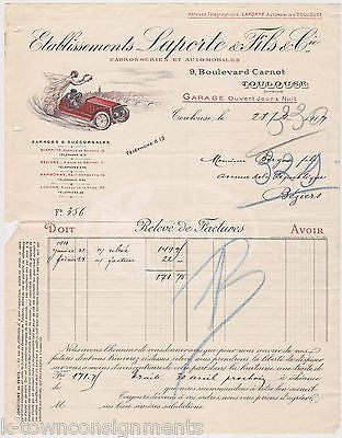 LAPORTE & FILS FRENCH AUTOMOBILE GARAGE ANTIQUE GRAPHIC ADVERTISING RECEIPT 1917 - K-townConsignments