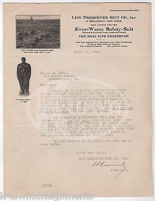 EARLY LIFE PRESERVER WETSUIT INVENTION ANTIQUE AUTOGRAPH SIGNED LETTERHEAD 1917 - K-townConsignments