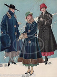 LADIES WINTER COATS & HATS ANTIQUE GRAPHIC ADVERTISING WOMEN'S FASHION PRINT - K-townConsignments