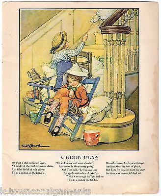 PILLOW FORT KIDS AT PLAY VINTAGE ANTIQUE GRAPHIC ART NURSERY KIDS ROOM PRINT - K-townConsignments