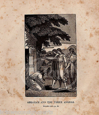 GENESIS 18:18 FATHER ABRAHAM & THE ANGELS ANTIQUE BIBLE ENGRAVING PRINT 1829 - K-townConsignments