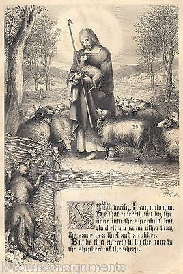 Jesus Good Shepherd John 10:1 Theif Antique Bible Graphic Art Engraving Print - K-townConsignments