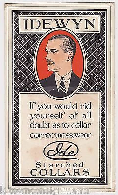 IDEWYN IDE FINE STARCH COLLARS ANTIQUE CLOTHING GRAPHIC ADVERTISING POSTER CARD - K-townConsignments
