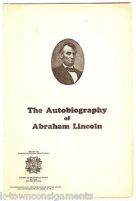PRESIDENT ABRAHAM LINCOLN AUTOBIOGRAPHY VINTAGE VETERANS REPRODUCTION PRINTING - K-townConsignments