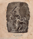 GENESIS 4:8 CAIN KILLING ABEL FIRST MURDER ANTIQUE BIBLE ENGRAVING PRINT 1829 - K-townConsignments