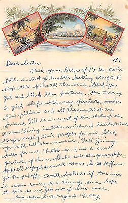 WWII SOLDIER'S LETTER HOME FROM WAIKIKI BEACH HAWAII W/ SURFING STICKER ON COVER - K-townConsignments