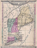 NEW ENGLAND AMERICAN STATES MAINE ANTIQUE HAND COLORED GRAPHIC ILLUSTRATED MAP - K-townConsignments