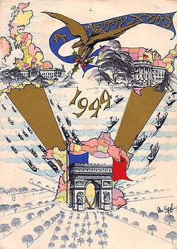 ARC DE TRIOMPHE AMERICAN LIBERATION VINTAGE WWII GRAPHIC ART CHRISTMAS CARD 1944 - K-townConsignments
