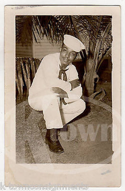 AFRICAN AMERICAN NAVY SAILOR VINTAGE WWII AUTOGRAPH SIGNED PHOTO POSTCARD - K-townConsignments