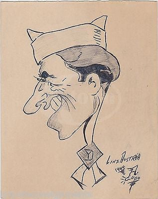 WWII LINZ AUSTRIA ORIGINAL SOLDIERS CARTOON ART SIGNED INK SKETCH DRAWING 1944 - K-townConsignments