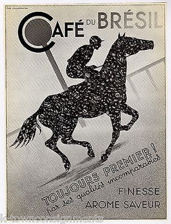 CAFE DU BRESIL HORSE & JOCKEY VINTAGE BRAZILIAN GRAPHIC ADVERTISING PRINT 1936 - K-townConsignments