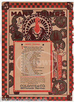 THANKSGIVING TURKEY POEM COLGATE DENTAL CREAM ANTIQUE GRAPHIC ADVERTISING PRINT - K-townConsignments