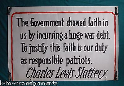 WWI WAR DEBT BISHOP CHARLES SLATTERY QUOTE LARGE ANTIQUE WAR BONDS POSTER - K-townConsignments