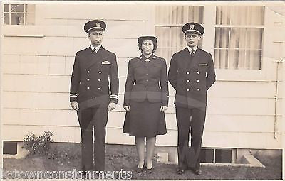 WWII WAVES WOMAN IN UNIFORM & NAVY MARINES VINTAGE PATRIOTIC SNAPSHOT PHOTO - K-townConsignments