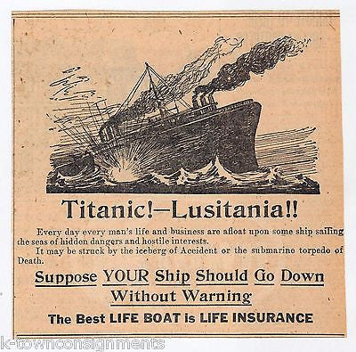 TITANIC & LUSITANIA OCEAN LINER CRUISE SHIP LIFE INSURANCE ANTIQUE NEWSPAPER AD - K-townConsignments