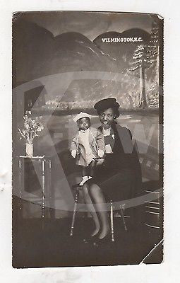 DARLING LITTLE BOY & MOTHER WILMINGTON NC AFRICAN AMERICAN FAMILY SNAPSHOT PHOTO - K-townConsignments