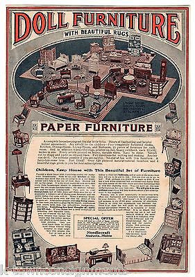 NEEDLECRAFT PAPER DOLL HOUSE FURNITURE MAINE ANTIQUE GRAPHIC ADVERTISING PRINT - K-townConsignments