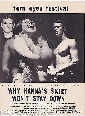 TOM EYEN FESTIVAL WHY HANNA'S SKIRT WON'T STAY DOWN VINTAGE THEATRE SHOW POSTER - K-townConsignments