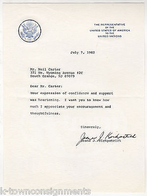 JEANE KIRKPATRICK US REP TO UNITED NATIONS VINTAGE AUTOGRAPH SIGNED LETTER 1982 - K-townConsignments