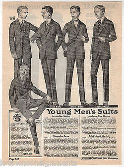 NATIONAL CLOAK & SUIT COMPANY YOUNG MENS FASHIONS ANTIQUE ADVERTISING PRINT - K-townConsignments
