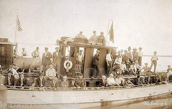 EARLY AMERICAN FERRY BOAT ALLEN JULY 1916 ANTIQUE GROUP PHOTO ON BOARD - K-townConsignments