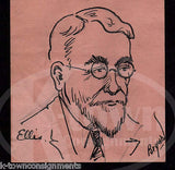 PENNSYLVANIA RAILROAD EMPLOYEE MR ELLIS SIGNED JACK BRYAN CARTOON INK SKETCH - K-townConsignments