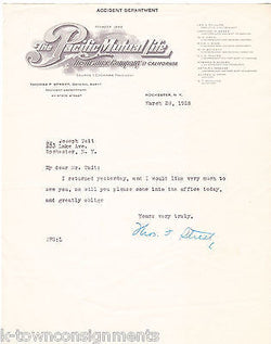 PACIFIC MUTUAL LIFE INSURANCE CALIFORNIA AUTOGRAPH SIGNED ENGRAVING LETTERHEAD - K-townConsignments