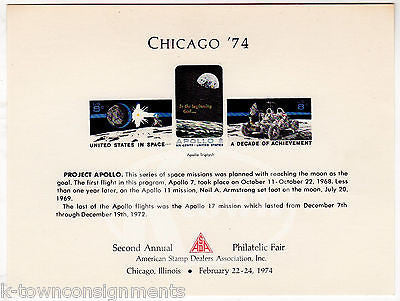 APOLLO 7 SPACE ASTRONAUTS ASDA CHICAGO PHILATELIC FAIR SOUVENIR STAMP CARD 1974 - K-townConsignments