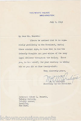 M. H. McINTYRE WWII SECRETARY TO PRESIDENT ROOSEVELT SIGNED WARTIME LETTER 1943 - K-townConsignments