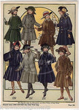 LITTLE GIRLS FASHION DESIGN WINTER COATS ANTIQUE GRAPHIC ART ADVERTISING PRINT - K-townConsignments