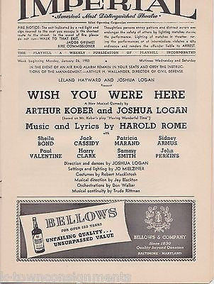 WISH YOU WERE HERE JACK CASSIDY VINTAGE IMPERIAL THEATRE PLAYBILL