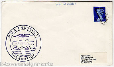 HMS ENDURANCE ANTARCTICA EXPEDITION VINTAGE POSTAL MAIL COVER ENGLISH STAMP 1973 - K-townConsignments