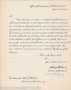 ASBURY DICKENS SENATE SECRETARY AUTOGRAPHED MEXICAN WAR TEXAS SENATE DOCUMENT - K-townConsignments