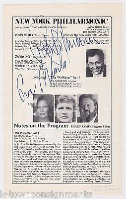 PETER HOFMANN EVA MARTON NEW YORK PHILHARMONIC OPERA AUTOGRAPH SIGNED BILL PAGE - K-townConsignments